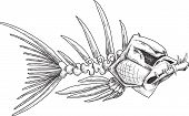 foto of crooked teeth  - sketch of evil skeleton fish with sharp crooked teeth - JPG