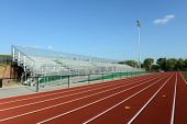 Track Field on a sunny day and blue sky