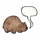 picture of wombat  - cartoon wombat with speech bubble - JPG