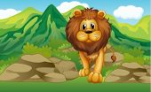 picture of mountain lion  - Illustration of a lion with a mountain scenery at the back - JPG