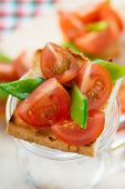 picture of snow peas  - Bruschetta with fresh tomato and snow peas selective focus