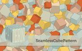 Seamless Cube Pattern - Pastel-colored cubes repeat pattern, for backgrounds or as an element for co