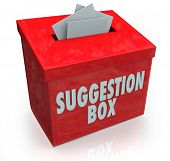 stock photo of submissive  - A red Sugestion Box with notes of paper stuffed into its slot offering feedback - JPG