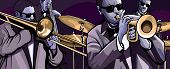 Vector illustration of a jazz band with trombone trumpet double bass and drum