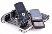pic of mobile-phone  - Bunch of cell phones isolated on white - JPG