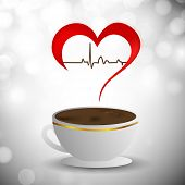 Abstract World health day concept with heart and herbal tea..