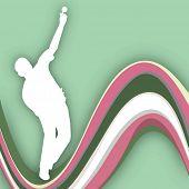 Постер, плакат: Крикет котелок в воспроизведении движения на фоне волны