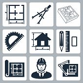 Vector building design icons set: layout, pair of compasses, protractor, pencil, ruler, eraser, blue
