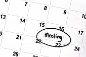 image of sharpie  - the word meeting has been written on a day of a monthly calendar in bold black permanent marker - JPG