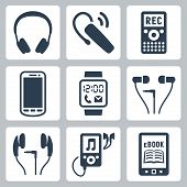 Vector Gadgets Icons Set: Headphones, Wireless Headset, Dictaphone, Smartphone, Smart Watch, Mp3 Pla