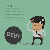 Business man burden with Debt - Vector , eps10 vector format