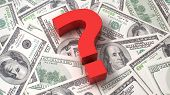 image of punctuation marks  - Red question mark on the background of one hundred dollar bills - JPG