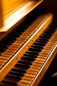 stock photo of pipe organ  - Church organ wooden keyboard - JPG