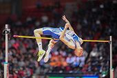 GOTHENBURG, SWEDEN - MARCH 1 Konstadinos Baniotis (Greece) competes in the men's high jump event dur