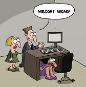 image of gag  - Cartoon gag about a new female office staff is shy and hiding under the desk - JPG