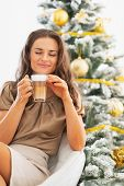Portrait Of Happy Young Woman Enjoying Latte Macchiato In Front Of Christmas Tree