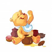image of bear-cub  - teddy bear with a pot of honey - JPG