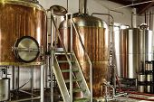 stock photo of fermentation  - Interior views of small micro brewery processing and storage - JPG