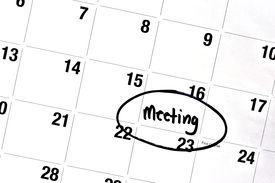 picture of sharpie  - the word meeting has been written on a day of a monthly calendar in bold black permanent marker - JPG