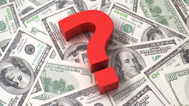 picture of punctuation marks  - Red question mark on the background of one hundred dollar bills - JPG