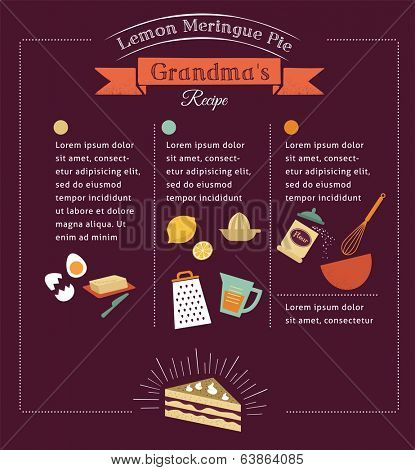 Chalkboard meal recipe template vector design with food icons and