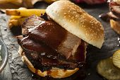 pic of brisket  - Smoked Barbecue Brisket Sandwich with Coleslaw and Bake Beans - JPG