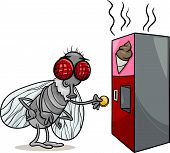 pic of poo  - Cartoon Illustration of Funny Fly and Vending Machine with Poo Snack - JPG