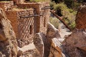 picture of pueblo  - Pueblo Dwellings in Bandelier National Monument, New Mexico ** Note: Shallow depth of field - JPG