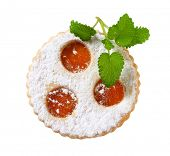 stock photo of augen  - Linzer cookie with apricot jam filling - JPG