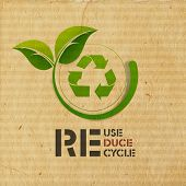 image of reuse  - World Environment Day concept with illustration of recycle symbol and green leaves on grungy brown background - JPG