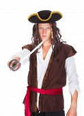 stock photo of pirate sword  - Portrait Of A Young Pirate Holding Sword On White Background - JPG