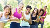 stock photo of tug-of-war  - Portrait of happy women pulling a rope in tug of war at the park - JPG