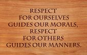 image of morals  - Respect for ourselves guides our morals - JPG