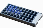 pic of chromatography  - Sample vials arrange in instrumental analysis tray isolated on white background - JPG