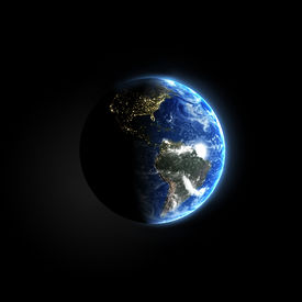 image of planet earth  - Blue planet in space with glowing lights in night side - JPG
