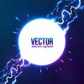 picture of lightning  - Shining electric lightning white circle vector frame - JPG