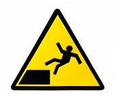 stock photo of slip hazard  - Yellow triangular sign warning for risk of falling - JPG