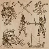 picture of buccaneer  - Pirates Buccaneers and Sailors hand drawn illustrations - JPG
