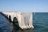 picture of mile  - Old seven mile bridge ruin in Florida Keys - JPG