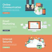 Постер, плакат: Flat design vector illustration concepts for online communication social network strategic communi