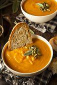image of butternut  - Homemade Autumn Butternut Squash Soup with Bread - JPG