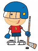 Постер, плакат: Мальчик играет хоккей вратарь