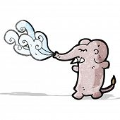 image of squirting  - funny cartoon elephant squirting water - JPG