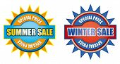 stock photo of waste reduction  - Summer and winter special price sales sign - JPG