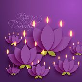 stock photo of diwali  - Vector Diwali Diya  - JPG