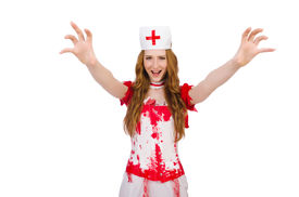 image of witch-doctor  - Woman doctor covered in blood in halloween concept - JPG