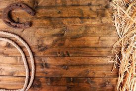 image of horseshoe  - American West still life with old horseshoe and cowboy lasso - JPG