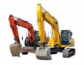 picture of excavator  - two modern excavators isolated on the white background - JPG