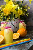 stock photo of exotic_food  - Healthy food lemon smoothie with lemon fruits on the wooden background