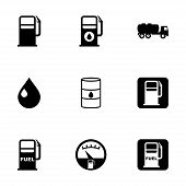 stock photo of gasoline station  - Vector gas station icon set on white background - JPG